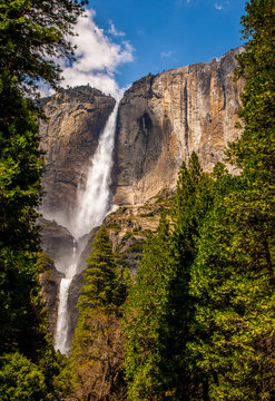 yosemite falls with forest and clouds