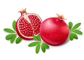 Ripe juicy pomegranate. Cuted Fruit with green leaves. Wall mural