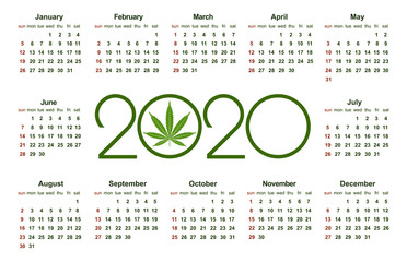 Marijuana calendar for 2020. Medical Cannabis. Simple Vector Template. Stationery Design Template. Isolated vector illustration on white background.