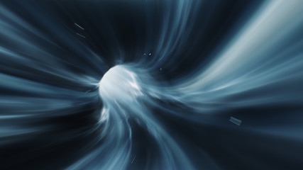 3d render Blue Wormhole time vortex space