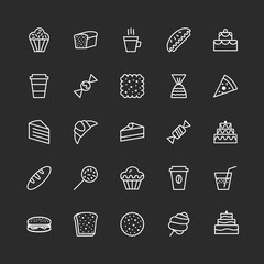 hand draw icons set of bakery line style isolated on background with cake and dessert for confectionery store, bakery shop, logo, cafe, restaurant, sweet pattern, packaging paper. vector 10 eps