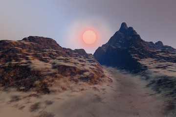 Sunset, a deserted landscape, a dirt road between the rocks and the mountains and beautiful sun in the sky.