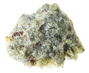 raw olivine ( chrysolite) stone on white
