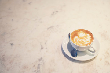 coffee latte art, vintage filter image