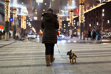 Woman and her dog walking in the cold winter night through the central station in Vienna