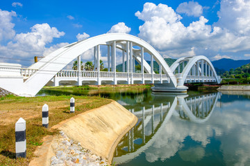 White Railway Bridge in Lamphun, Thailand