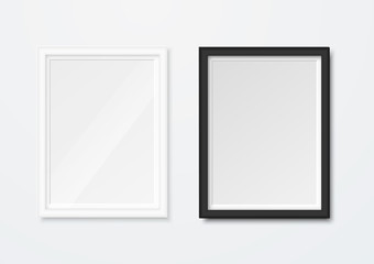 Realistic picture frames isolated on white background. Vector illustration. Black and white picture frames for modern interior.