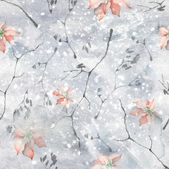 Watercolor Seamless Pattern with Delicate Branches and Poinsettia Christmas Flowers on Winter Background