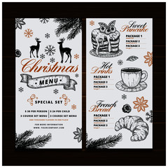Vintage Merry Christmas menu for restaurant in style
