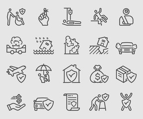 Line icons set for Insurance
