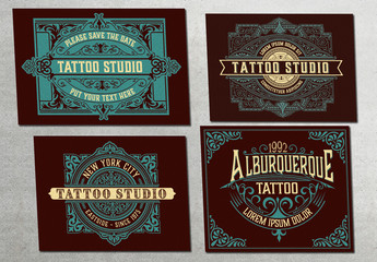 4 Vintage-Style Postcard Layouts