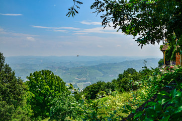 La Morra, province of Cuneo, Piedmont, Italy. July 15, 2018. In the Langhe territory, La Morra is a village on top of a hill that gives an enchanting lookout over the typical vineyards of the area.