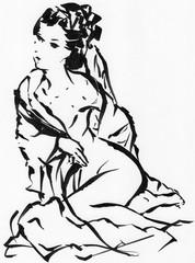 墨絵の女性