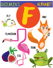 Letter F.Cute children's alphabet with adorable animals and other things.Poster for kids learning English vocabulary.Cartoon vector illustration.
