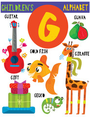 Letter G.Cute children's alphabet with adorable animals and other things.Poster for kids learning English vocabulary.Cartoon vector illustration.