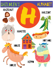 Letter H.Cute children's alphabet with adorable animals and other things.Poster for kids learning English vocabulary.Cartoon vector illustration.