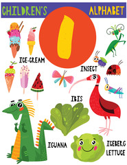 Letter I.Cute children's alphabet with adorable animals and other things.Poster for kids learning English vocabulary.Cartoon vector illustration.
