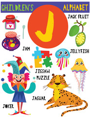 Letter J.Cute children's alphabet with adorable animals and other things.Poster for kids learning English vocabulary.Cartoon vector illustration.