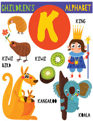 Letter K.Cute children's alphabet with adorable animals and other things.Poster for kids learning English vocabulary.Cartoon vector illustration.