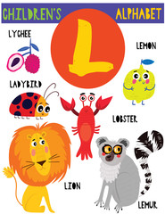 Letter L.Cute children's alphabet with adorable animals and other things.Poster for kids learning English vocabulary.Cartoon vector illustration.