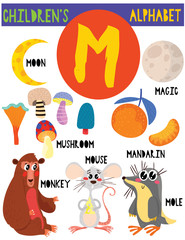 Letter M.Cute children's alphabet with adorable animals and other things.Poster for kids learning English vocabulary.Cartoon vector illustration.