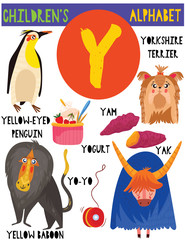 Letter Y.Cute children's alphabet with adorable animals and other things.Poster for kids learning English vocabulary.Cartoon vector illustration.