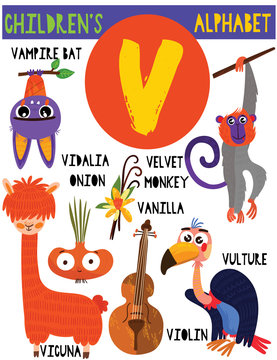 Letter V.Cute children's alphabet with adorable animals and other things.Poster for kids learning English vocabulary.Cartoon vector illustration.