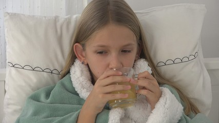 Sick Child Drinking Tea, Ill Kid in Bed, Suffering Girl, Patient in Hospital