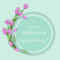 Floral template for invitation with circle and pink tulip flowers. Hand drawn sketch on light green background.
