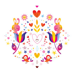flowers bunnies hearts and birds illustration