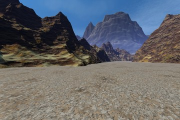 Desert, a rocky landscape, dirt road to the mountains and daylight above the rocks, the sky is blue with few clouds.
