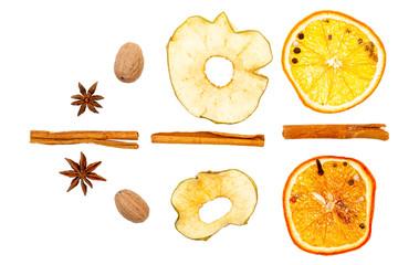 Dried fruits, lemon, apple, cinnamon, nutmeg. On a white background, isolate.