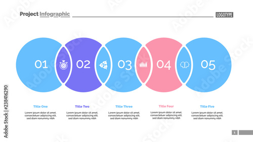 Five Circles Process Chart Slide Template Business Data Point Solution Design