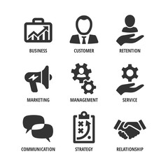 Vector business shape icon set with customer, retention, marketing, management, service, communication, strategy, relationship.