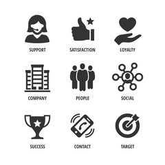 Vector business shape icon set with support, satisfaction, loyalty, company, people, social, success, contact and target.
