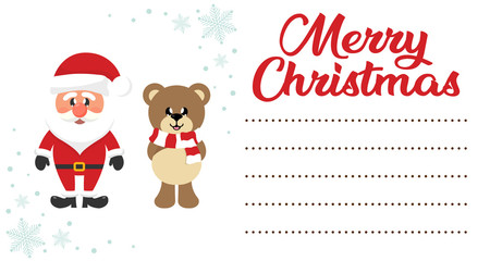 cartoon сhristmas bear and santa claus on the christmas letter to santa