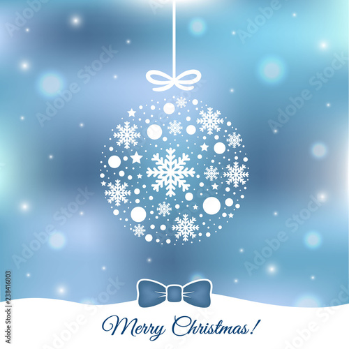 Blue Bokeh Christmas Vector Background Stock Image And