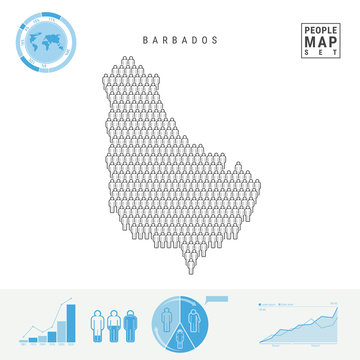 Barbados People Icon Map. People Crowd in the Shape of a Map of Barbados. Stylized Silhouette of Barbados. Population Growth and Aging Infographic Elements. Vector Illustration Isolated on White.