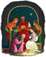 Nativity Scene with Jesus, Mary, Joseph and Three Kings - Wise Men