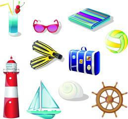 Set of summer beach vacantion vector elements. Vector elements that are encountered summer on the beach.