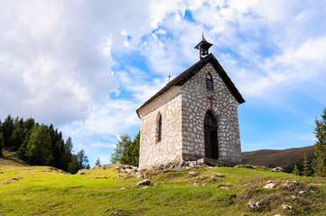 The little church on mountain small village. Religion building