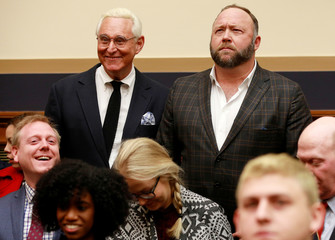 """Political operative Roger Stone and Alex Jones of Infowars arrive prior to the testimony of Google CEO Sundar Pichai at a House Judiciary Committee hearing """"examining Google and its Data Collection, Use and Filtering Practices"""" on Capitol Hill"""
