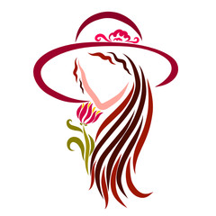 Charming brunette in a summer hat and flower, beauty and romance