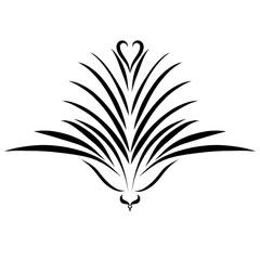 Bird, like a flower, or a flower, like a bird, a pattern with a heart