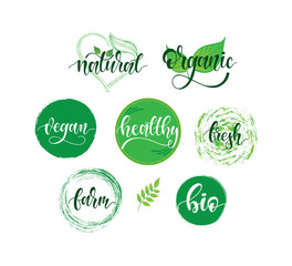 Organic food, farm fresh and natural product icons and elements collection for food market, ecommerce, organic products promotion, healthy life, food and drink.