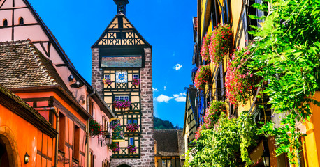 Fototapete - Most beautiful villages of France - colorful Riquewihr with traditional houses. Alsace