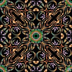 Ornamental colorful beautiful floral greek mandalas seamless pat