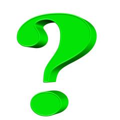 Obraz Grünes Fragezeichen vor weißem Hintergrund - fototapety do salonu