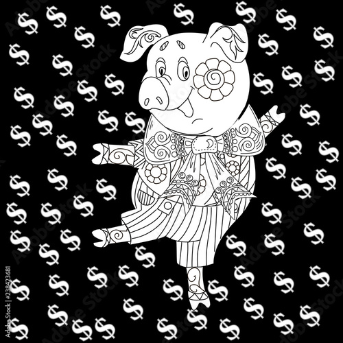 Coloring Pages Coloring Book For Children And Adults Cute Pig