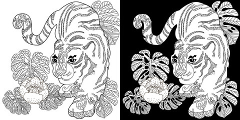 Coloring Pages. Coloring Book for adults. Colouring pictures with tigers. Antistress freehand sketch drawing with doodle and zentangle elements.